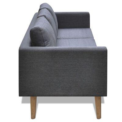vidaXL Soffa 3-sits tyg mörkgrå