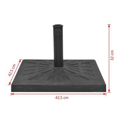 vidaXL Parasollfot harts kvadratisk svart 12 kg