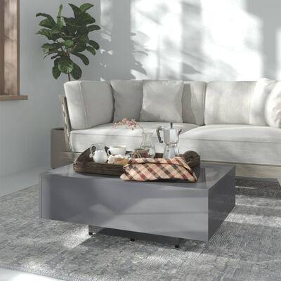 vidaXL Soffbord grå högglans 85x55x31 cm spånskiva