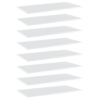 vidaXL Hyllplan 8 st vit högglans 80x30x1,5 cm spånskiva