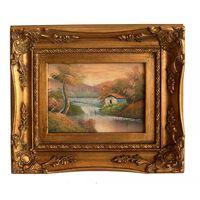 Landskap, oljemålning med ram, innermått 13x18 cm,