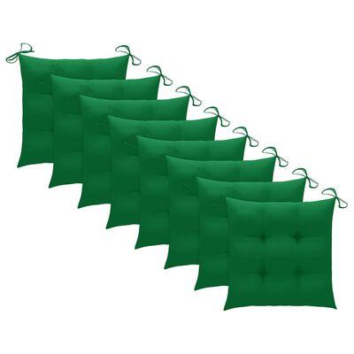 vidaXL Matstolar 8 st med gröna dynor massiv teak