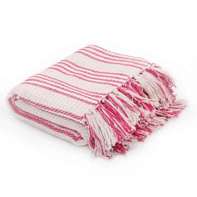 vidaXL Filt bomull ränder 160x210 cm rosa och vit