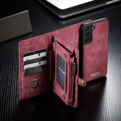 CASEME Samsung Galaxy S21 Retro läder plånboksfodral - Röd
