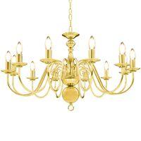 vidaXL Takkrona guld 12 x E14-glödlampor