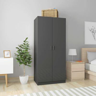 vidaXL Garderob grå högglans 80x52x180 cm spånskiva, Highglossgrey