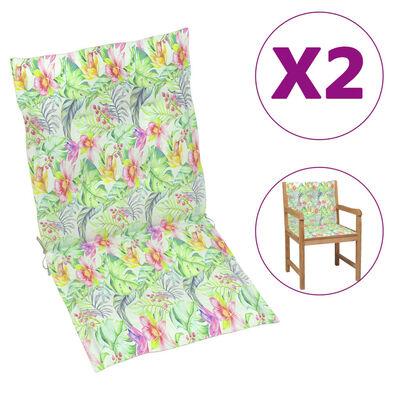 vidaXL Dynor för trädgårdsstolar 2 st bladmönster 100x50x4 cm