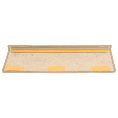vidaXL Trappstegsmattor självhäftande sisal 15 st 65x25 cm sand