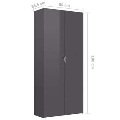 vidaXL Skoskåp grå högglans 80x35,5x180 cm spånskiva