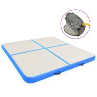 vidaXL Uppblåsbar gymnastikmatta med pump 200x200x20 cm PVC blå