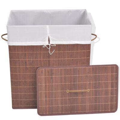 vidaXL Tvättkorg i bambu rektangulär brun