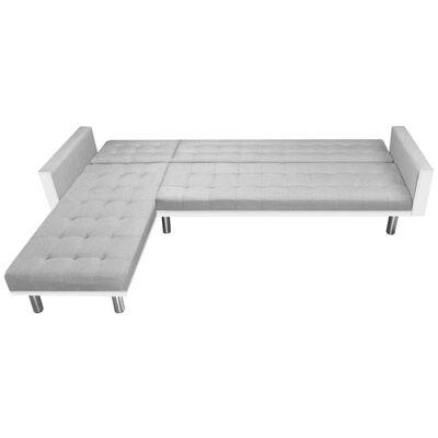 vidaXL Bäddsoffa tyg 218x155x69 cm vit och grå