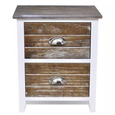 vidaXL Sängbord 2 st med 2 lådor brun och vit