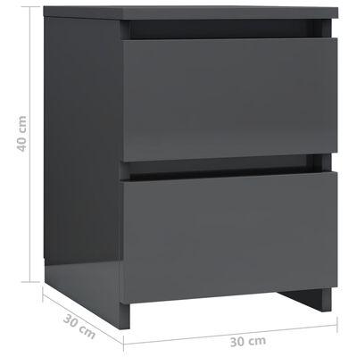 vidaXL Sängbord grå högglans 30x30x40 cm spånskiva, Grå högglans