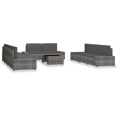 vidaXL Loungegrupp för trädgården 10 delar konstrotting grå