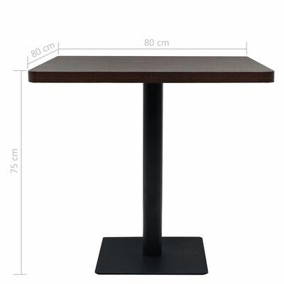vidaXL Bistrobord MDF och stål fyrkantigt 80x80x75 cm mörk aska