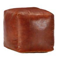 vidaXL Sittpuff brun 40x40x40 cm äkta getskinn