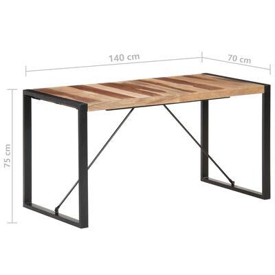 vidaXL Matbord 140x70x75 cm massivt trä med sheshamfinish