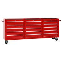 vidaXL Verktygsvagn med 15 lådor stål röd