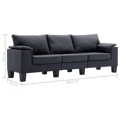 vidaXL 3-sitssoffa mörkgrå tyg