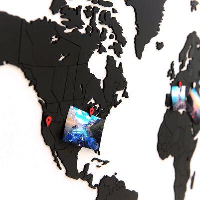 MiMi Innovations Väggdekor världskarta Luxury pussel svart 100x60 cm