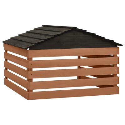 vidaXL Garage för robotgräsklippare svart och brun 78x74x54 cm granträ