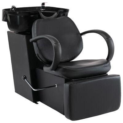vidaXL Schamponeringsstol med handfat svart konstläder