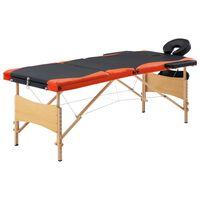 vidaXL Hopfällbar massagebänk 3 sektioner trä svart och orange