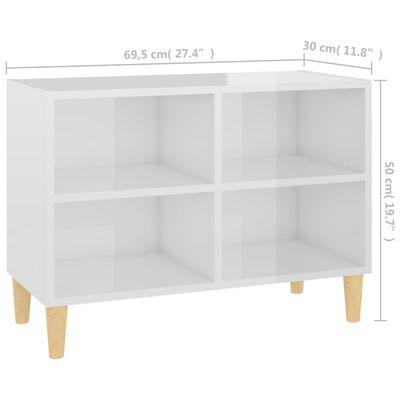 vidaXL TV-bänk med massiva ben vit högglans 69,5x30x50 cm