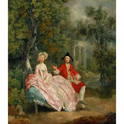 Lady and Gentleman in a Landscape,Thomas Gainsborough,60x50cm