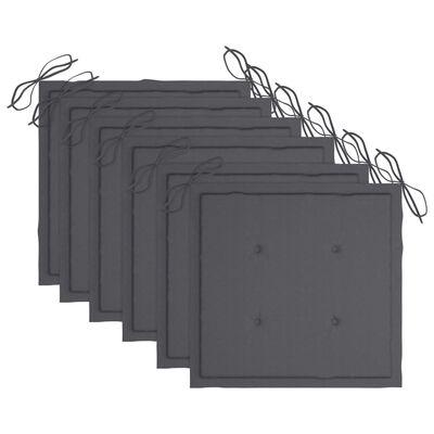 vidaXL Trädgårdsstolar med dynor 6 st massivt akaciaträ grå