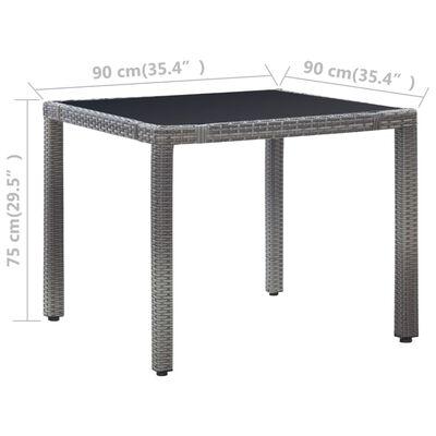 vidaXL Matgrupp för trädgården 5 delar konstrotting grå