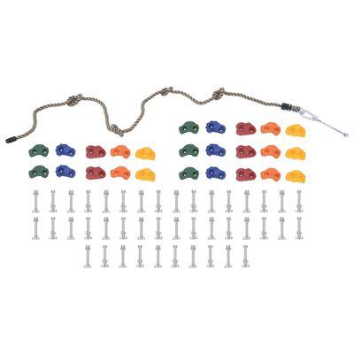 vidaXL Klätterstenar med rep 25 delar flerfärgad