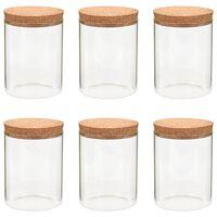 vidaXL Förvaringsburkar i glas med korklock 6 st 650 ml