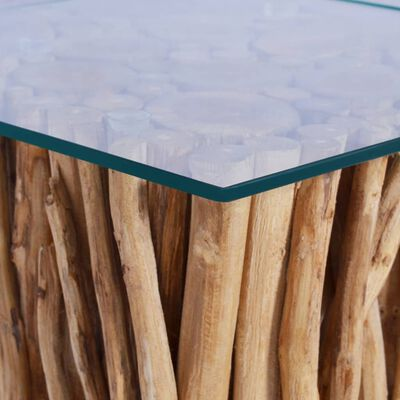 vidaXL Soffbord med glasskiva 66x66x40 cm massiv teak