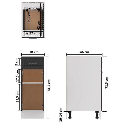 vidaXL Underskåp med låda grå 30x46x81,5 cm spånskiva