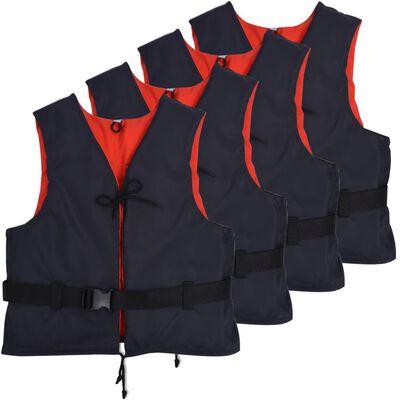 vidaXL Räddningsvästar 4 st 50 N 30-50 kg marinblå