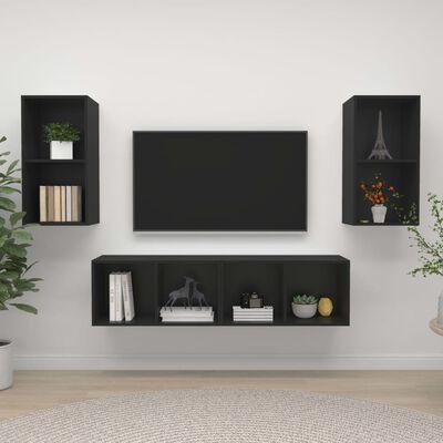 vidaXL Väggmonterade tv-skåp 4 st svart spånskiva