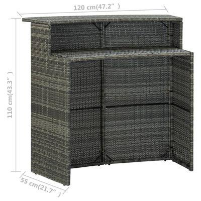 vidaXL Bargrupp för trädgården med dynor 5 delar grå