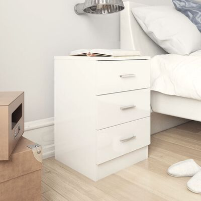 vidaXL Sängbord vit högglans 38x35x56 cm spånskiva