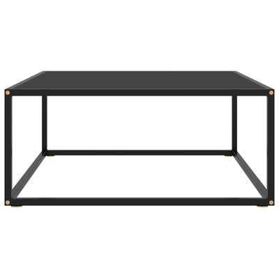 vidaXL Soffbord svart med svart glas 80x80x35 cm