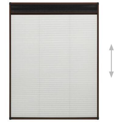 vidaXL Plisserat insektsnät för fönster aluminium brun 100x160 cm
