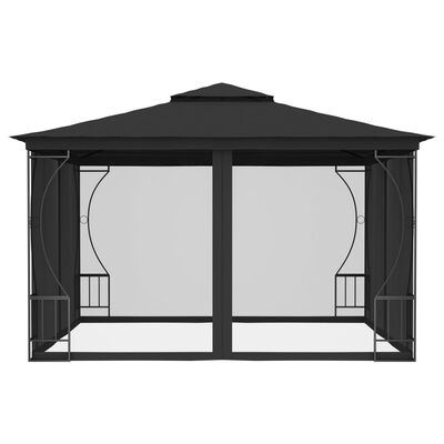 vidaXL Paviljong med draperi 300x300x265 cm antracit