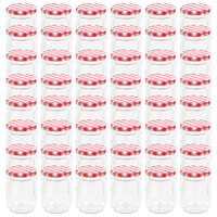 vidaXL Syltburkar i glas med vita och röda lock 48 st 230 ml
