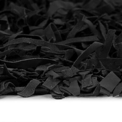 vidaXL Shaggy-matta äkta läder 120x170 cm svart
