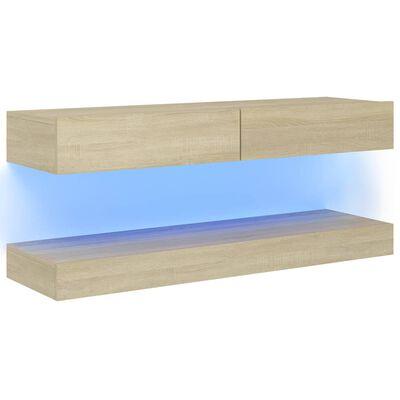 vidaXL TV-bänk med LED-belysning sonoma-ek 120x35 cm