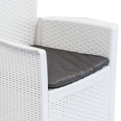 vidaXL Caféset 3 delar plast vit konstrotting