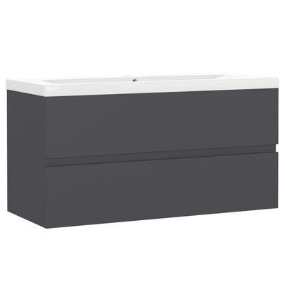 vidaXL Badrumsskåp med inbyggt handfat grå spånskiva