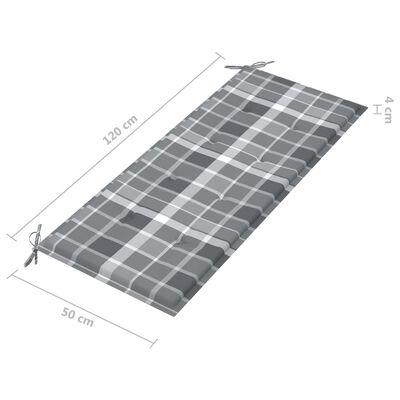 vidaXL Stapelbar trädgårdsbänk med dyna 128,5 cm massiv teak
