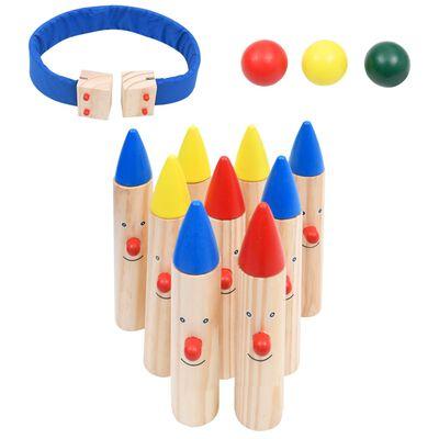 vidaXL Bowlingspel flerfärgad massiv furu